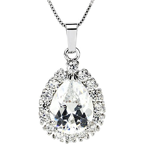 JewelrieShop Super Sparking Shiny White Gold Tone Color Plated Cubic Zircon CZ Brilliant Charm Pendant Necklace (White Zircon Necklace)