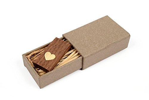 Walnut Wood USB 2.0 8GB Flash Drive - Heart Veneer Love Desi