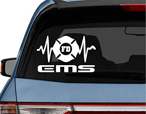 StickerLoaf Brand EMT EKG Maltese Cross car truck Laptop Decal Sticker decals sticker EMT EMS heart qrs complex firemedic firefighter emt ems rn lpn cna paramedic flight medic nurse rescue fire fd