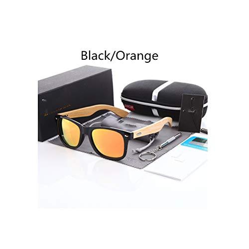 PREtty-2 Polarized Bamboo Sunglasses Men Wooden Sun Glasses Women Brand Original Wood Glasses,Black Orange A