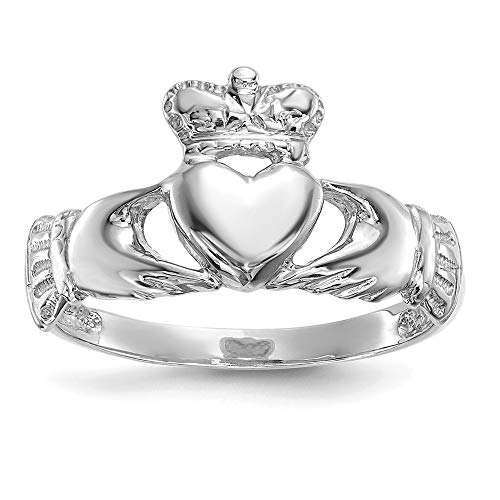 (14k White Gold Irish Claddagh Celtic Knot Band Ring Size 7.00 Fine Jewelry Gifts For Women For Her)