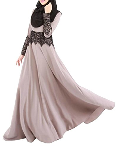 SYTX Womens Muslim Lace Trim Long Sleeve Swing Abaya for sale  Delivered anywhere in USA