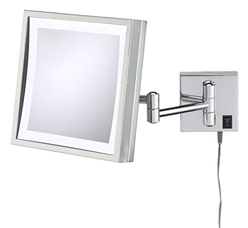 Kimball & Young 91283 Single Sided LED Square Wall Mirror, Polished Nickel by Kimball & Young