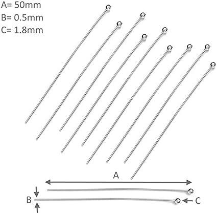 My-Bead 40 St/ück Kettelstifte Nietstifte 925 Sterling Silber 70mm x 0,5mm Kopf /Ø 1,8mm f/ür Ohrh/änger Juweliers Qualit/ät DIY
