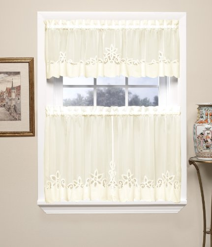 Today's Curtain Plymouth Classic Battenburg Applique Sheer Window Tier, 36-Inch, Ecru