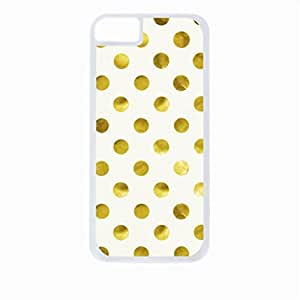 Gold Polka Dots- Case for the Apple Iphone 5C-Hard White Plastic Outer Shell with Inner Soft Black Rubber Lining by ruishernameMaris's Diary