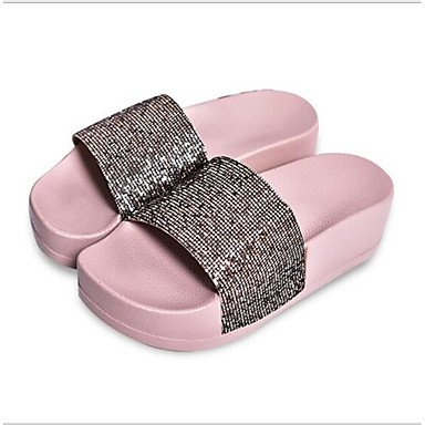 pwne Zapatillas De Mujer &Amp; Flip-Flops Pu Confort Casual Primavera Sonrojarse Plata Rosa Plana Negra US5.5 / EU36 / UK3.5 / CN35