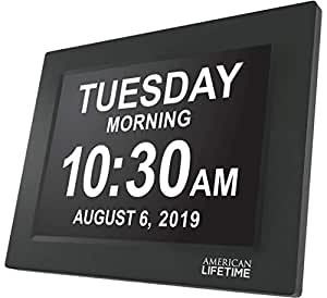 American Lifetime [Newest Version] Day Clock - Extra Large Impaired Vision Digital Clock with Battery Backup & 5 Alarm Options (Black)