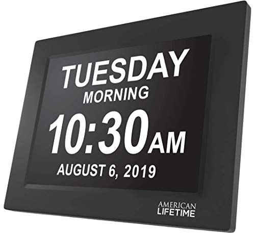 [Newest Version] American Lifetime Day Clock - Extra Large Impaired Vision Digital Clock with Battery Backup & 5 Alarm Options (Black) ()