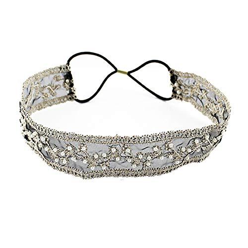 Elastic Ribbon Classic Headbands , Elegent Luxury Handmade Crystal Rhinestone Jewelry Beads Bridal Wedding Evening Pageants Proms Birthday Gift Headband Satin Ribbon Hiarband Headwrap Hair (black)