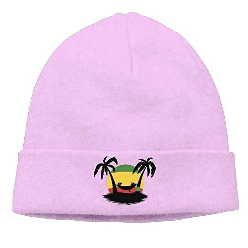 (Men and Women Jamaica Rasta Flag Coconut Tree Fleece Hat Warm Knit Ski Skull)