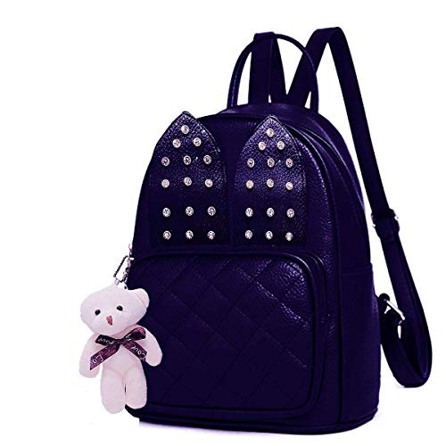 Alice Girls Rabbit Studs Ear Fashion Backpack Cute Mini Leather Backpack Purse for Women