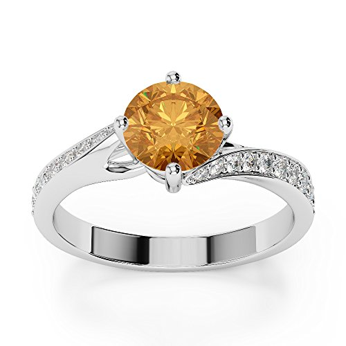 Or blanc 18 carats 3/2 ct G-H/VS sertie de diamants ronds Cut Citrine et bague de fiançailles Agdr-1207