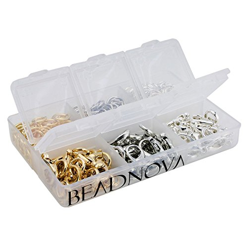 Europa Lobster - BEADNOVA 60pcs 12mm Silver/Gold/Rhodium Plated Lobster Claw Clasps 300pcs 7mm Open Jump Ring for Jewelry Making Value Pack Box Set Assortment