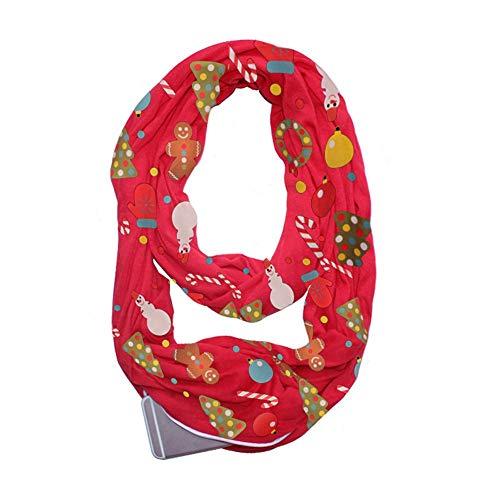Fenebort Decoración Caliente de la Navidad de la Venta Mujeres Impresión navideña Convertible Infinity Scarf Pocket Zipper...