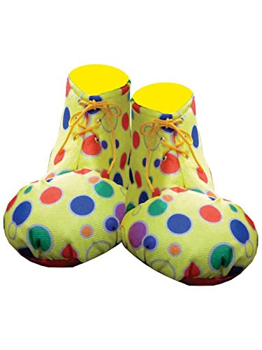 [Adult Clown Shoe Covers - Yellow Polka Dot] (Adult Yellow Clown Shoes)