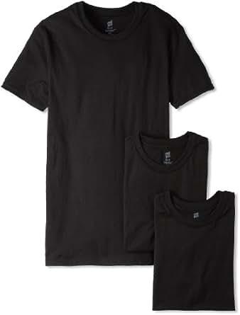 Hanes Men's Classics Slim-Fit Crew Neck T-Shirt, Black, Small (Pack of 3)