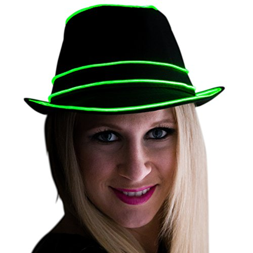 - Neon Nightlife Light Up Fedora, Small/Medium, Green