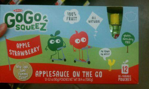 Gogo Squeez Apple Strawberry Applesauce 12 pk 3.2-ounce Pouches by GoGo SqueeZ (Image #1)