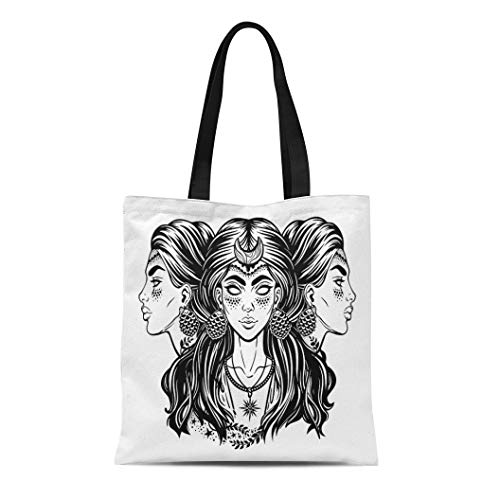 - Semtomn Cotton Canvas Tote Bag Blind Magic Goddess Hecate Triple Faced Beautiful Woman Long Reusable Shoulder Grocery Shopping Bags Handbag Printed