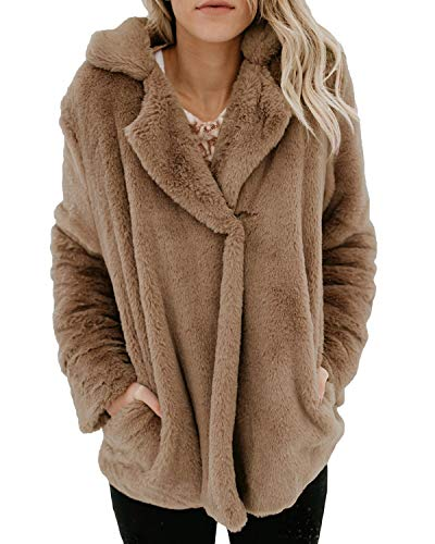 Fluffy Pour Button Poche ManteauxMarron2xl One Longues Femme Manteau Manches Marron Hemotrade ZiOkuPX