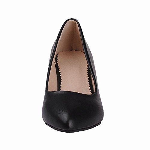 Carolbar Femmes Bout Pointu Manchette Mi-talon Date Mode Pompes Nuptiales Chaussures Noir