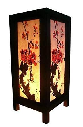 Thai Vintage Handmade ASIAN Oriental Japanese Sakura Cherry Blossom Tree Branch Art Bedside Table Lamp