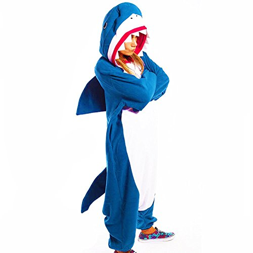 Animal Cosplay Costume Unisex Blue Sharky Shark Kigurumi Onesies (Shark Costumes For Adults)