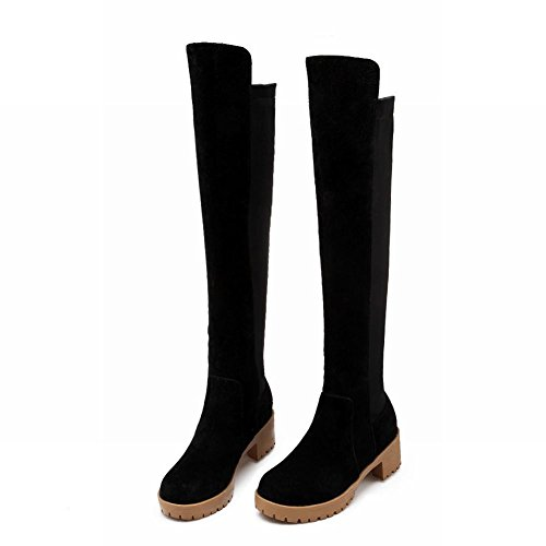 Latasa Womens Fashion Platform Mid Chunky Heel Pull on Knee High Riding Boots Black QgXsvfA3