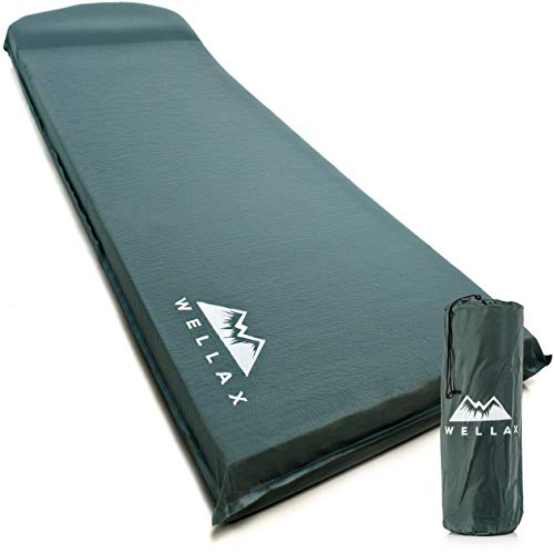 WELLAX UltraThick FlexFoam Sleeping Pad - Self-Inflating 3 Inches Camping Mat for Backpacking, Traveling and Hiking - 3inch Thickness for Better Stability & Support