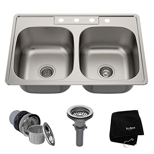 (Kraus KTM33 33 inch Topmount 50/50 Double Bowl 18 gauge Stainless Steel Kitchen Sink)