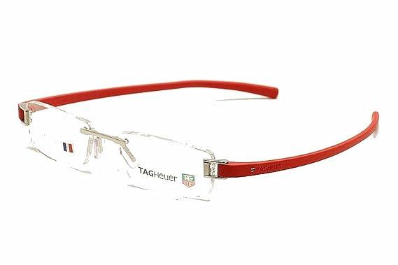 2de45f8740 Amazon.com  Tag Heuer Eyeglasses 7103 003 Red TagHeuer Rimless Optical  Frame 53mm  Clothing