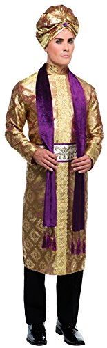 Mens 4 Piece Rich Indian Prince Bollywood Actor Dancer Around The World Halloween Fancy Dress Costume Outfit -