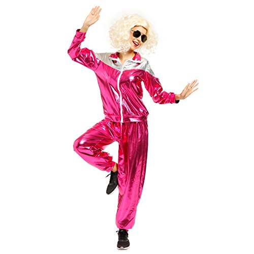 1980s Ladies Metallic Shell Suit Tracksuit Scouser Fancy Dress Costume (Medium) (Fancy Dress Costume)