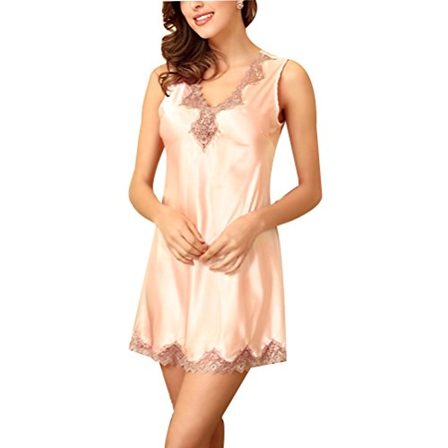 Zhhlinyuan Summer Women Soft Sleepwear Fashion Silk Sleeveless vest Dress Nightgown Light Pink