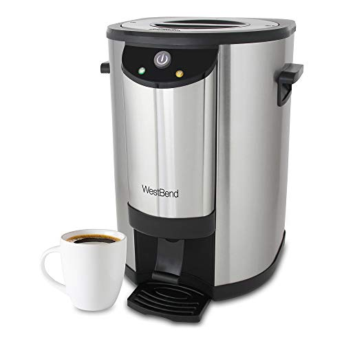 West Bend 57042 Stainless Steel Commercial Grade Coffee Urn Large Capacity Double Walled and Fast Brewing, 42-Cup, Silver