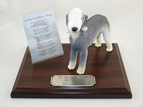 Bedlington Terrier Figurine (Beautiful Walnut Finished Personalized Memorial Plaque With Bedlington Terrier Figurine)