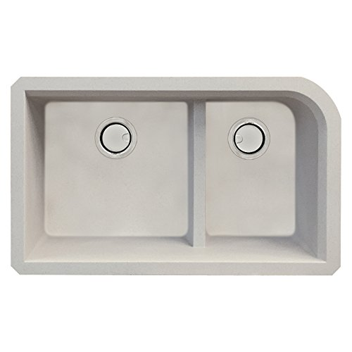 Transolid Radius Undermount Granite 32 in. 1-3/4 J-Shape Double Bowl Kitchen Sink in Cafe Latte