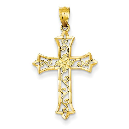 14K Yellow Gold Cross Pendant - (0.98 in x 0.71 in) 14k Gold Textured Cross