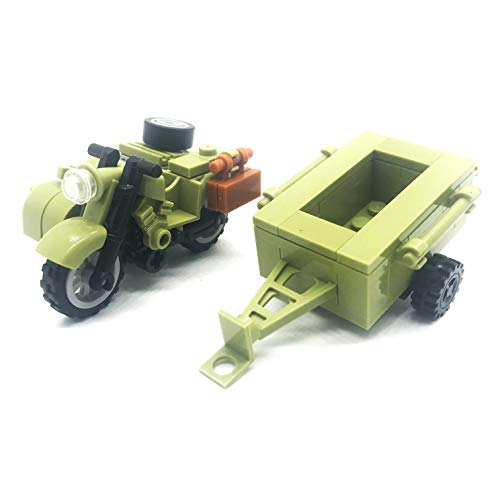 (koolfigure Custom WW2 Military Building Blocks Set, The German Willys Jeep, Mini Bricks Toys (Model C - Green Military Tricycle))
