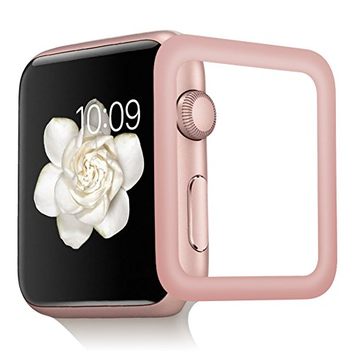 OMYFILM Apple Watch Screen Protector, Apple Watch Tempered Glass Screen Protector [Soft Carbon Fiber Edge] [Scratch-Proof] Screen Protector for Apple Watch Series 3 Series 2(42mm Rose Gold) by OMYFILM