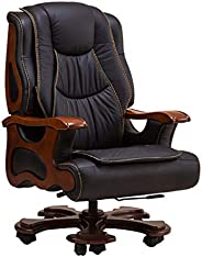 DIOE Executive Leather Office Chair - Solid Wood Handrails, Luxury Executive Chairs with 10 Silent Wheels, Rec
