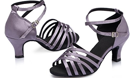 Heel Shoes Womens Ballroom Dance Mid Tango YYC L124 Professional Latin CFP Grey Satin xqw1a0P
