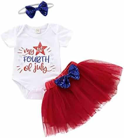 cbb8b177da Fyhuzp Toddler Baby Girls 4th of July Set, Independence Day T-Shirt Top +
