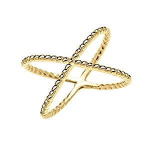14k Yellow Gold Dainty Criss Cross Rope Design Ring