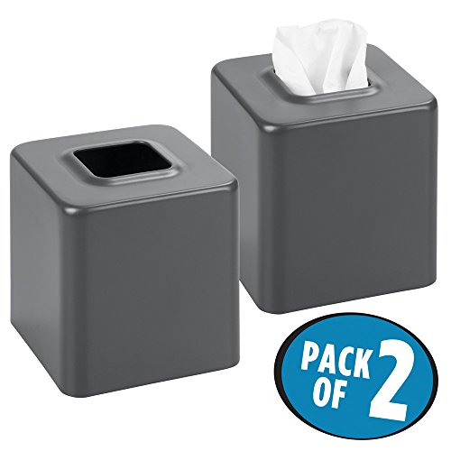 Gray Holder (mDesign Square Paper Facial Tissue Box Cover Holder for Bathroom Vanity Countertops, Bedroom Dressers, Night Stands, Desks and Tables - Pack of 2, Steel, Matte Slate Gray)