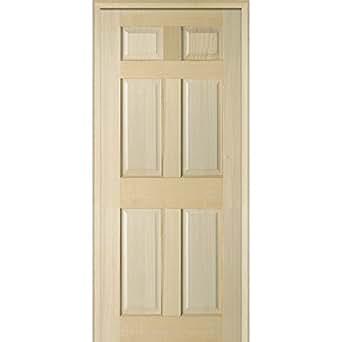 National Door Company Z022567l Unfinished Poplar Wood 6 Panel 36 X80 Left Hand Prehung Interior