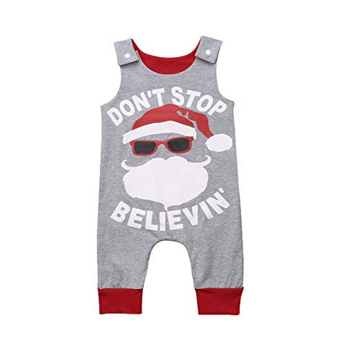 remeo suit Baby Don't Stop Believing Onesie Santa Claus Pattern Xmas Sleeveless Romper (6-12Months) -