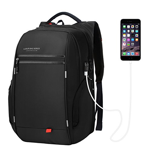 LUXUR 37L Laptop Backpack USB Charging Port Nylon Casual School Business Travel Daypack