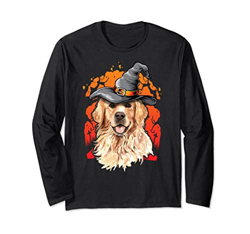 (Golden Retriever Halloween Costume Ideas Happy Halloweenie Long Sleeve)